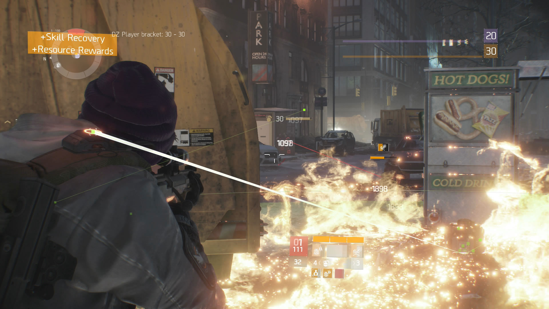 Sniping fools in the Dark Zone. The cross-hairs make head shots easy.