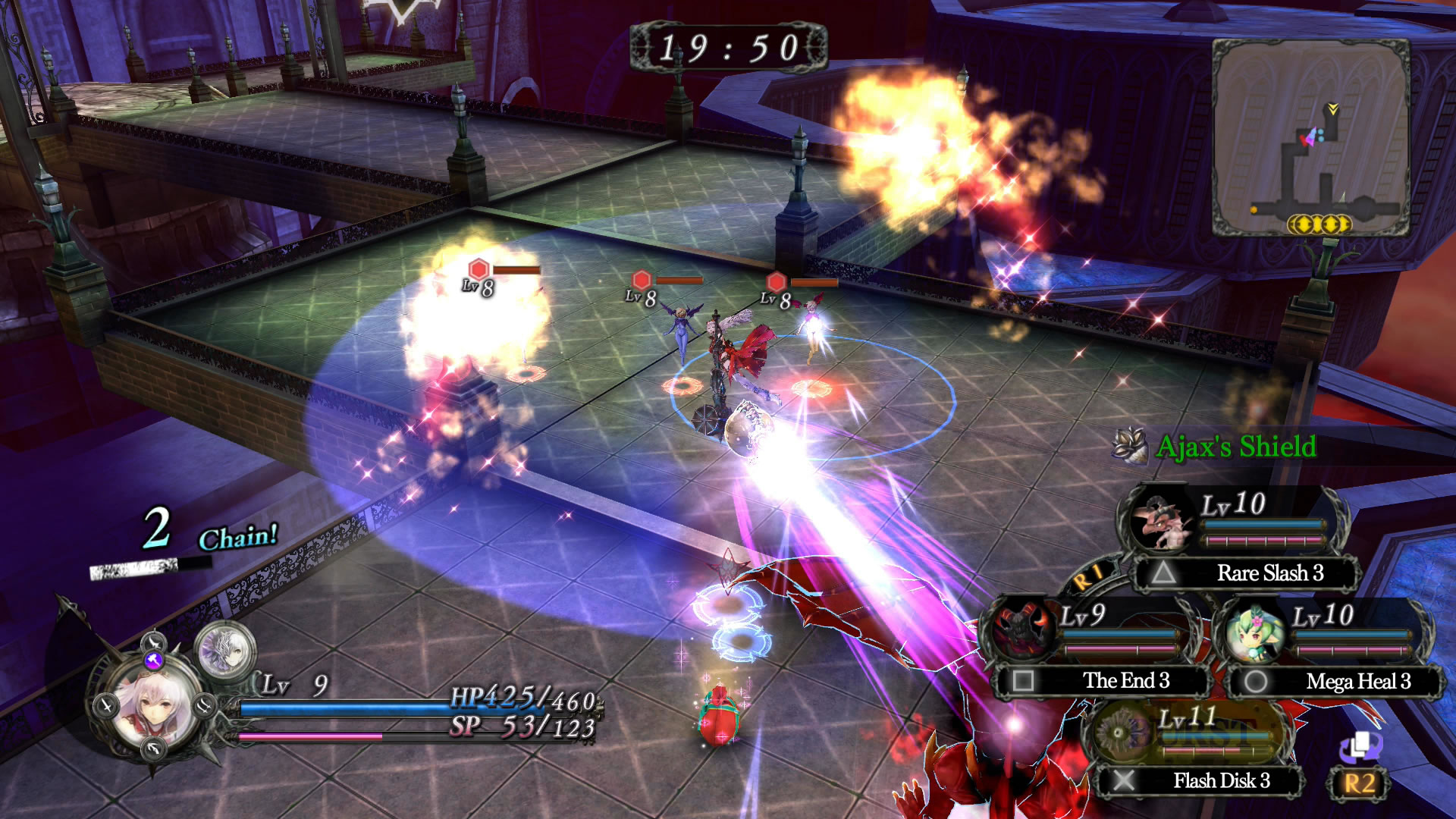 A general gameplay shot. Arnice engages in battle with fiends at her side.